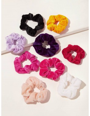 9pcs Simple Velvet Scrunchie