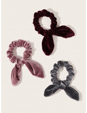 Bow Knot Decor Velvet Scrunchie 3pcs