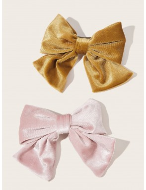 2pcs Plain Bow Knot Design Hair Clip