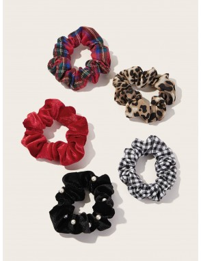 5pcs Leopard & Plaid Pattern Scrunchie
