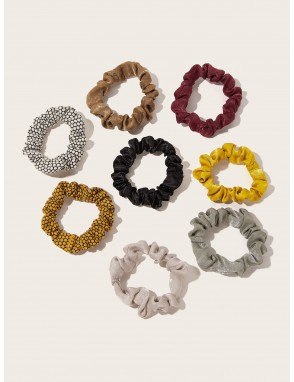 8pcs Simple Satin & Velvet Scrunchie