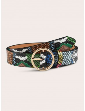 Colorful Snake Embossed Pattern O-ring Buckle Belt