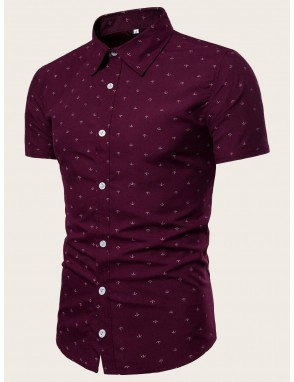 Men Anchor Print Curved Hem Shirt