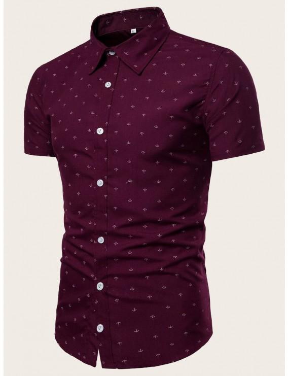 Men Anchor Print Curved Hem Shirt