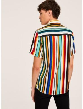 Men Button Up Striped Shirt
