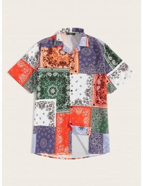 Men Scarf Print Patchwork Shirt