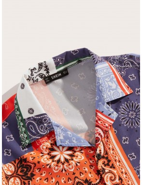 Men Scarf Print Patchwork Shirt