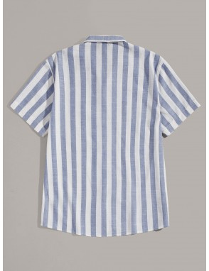 Men Button Up Notched Striped Shirt