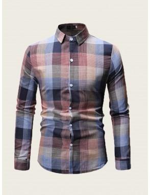 Men Button Front Plaid Shirt