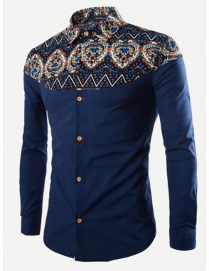 Men Contrast Tribal Print Shirt