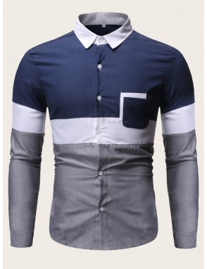 Men Cut And Sew Patched Pocket Shirt