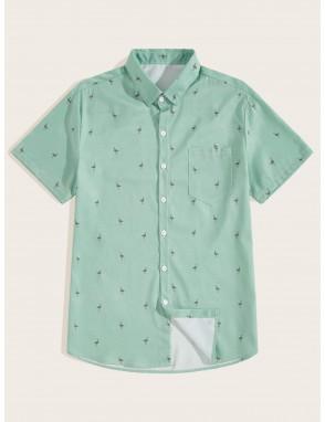 Men Cranes Print Curved Hem Shirt
