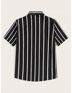 Men Button Front Striped Shirt
