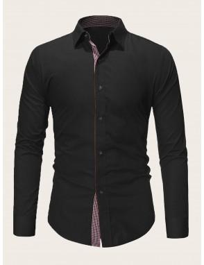 Men Contrast Plaid Placket Shirt