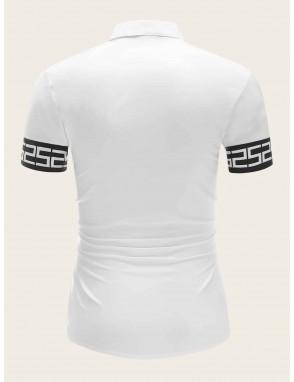 Men Contrast Number Cuff Shirt