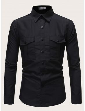 Men Button Up Utility Shirt