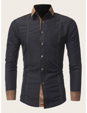 Men Contrast Panel Topstitching Shirt