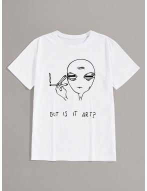 Men Alien & Slogan Print Short Sleeve Tee