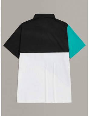 Men Color Block Polo Shirt