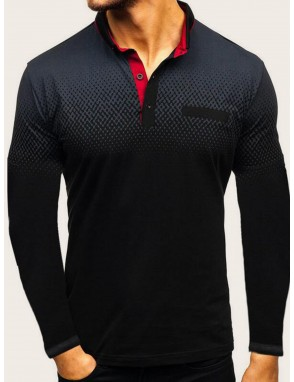 Men Contrast Placket Polo Shirt
