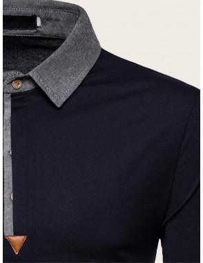 Men Contrast Collar Polo Shirt