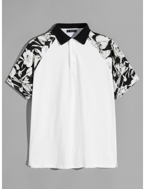 Men Botanical Raglan Sleeve Buttoned Polo Shirt