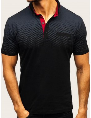 Men Contrast Collar Ombre Polo Shirt