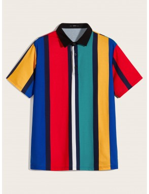 Men Contrast Collar Striped Polo Shirt