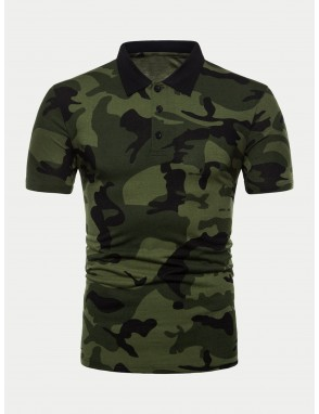 Men Camo Print Polo Shirt