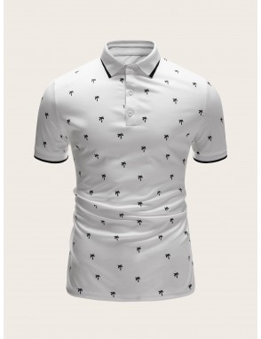 Men Coconut Tree Polo Shirt