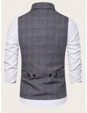 Men Double Breasted Plaid Waistcoat