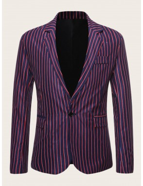 Men Lapel Collar Single Button Vertical-striped Blazer