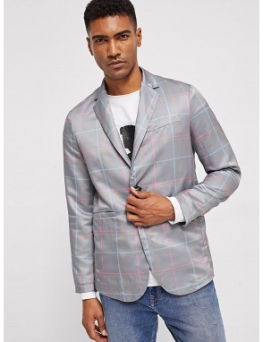 Men Button & Pocket Front Notch Neck Plaid Blazer