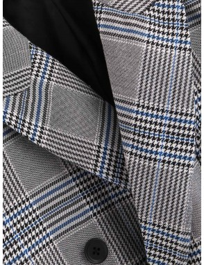 Men Double Breasted Plaid Print Blazer