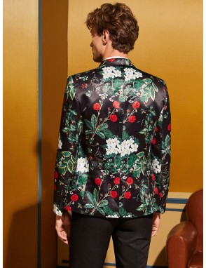 Men Botanical Print Peak Collar Single Buttoned Satin Blazer