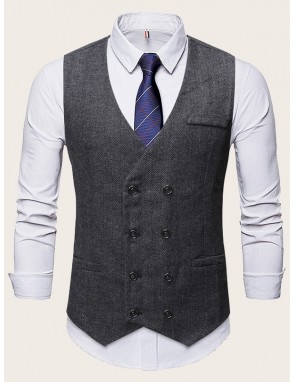 Men Herringbone Pattern Double Breasted Waistcoat