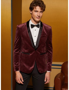 Men Contrast Satin Shawl Collar Velvet Blazer