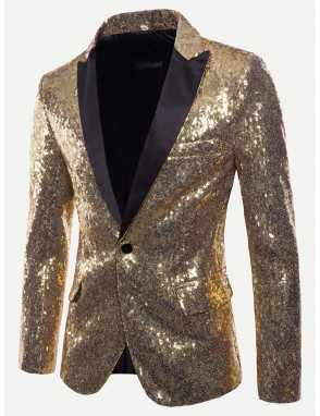 Men Contrast Placket Single Button Sequin Blazer