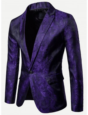 Men Jacquard Single Button Blazer