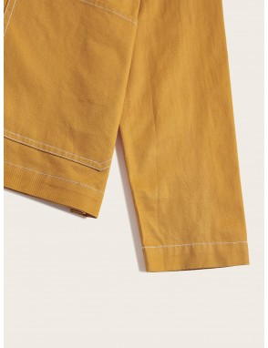 Men Contrast Stitch Pocket Front Shacket