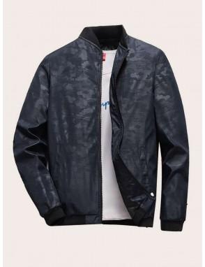 Men Camo Pattern Rib-knit Trim Bomber Jacket