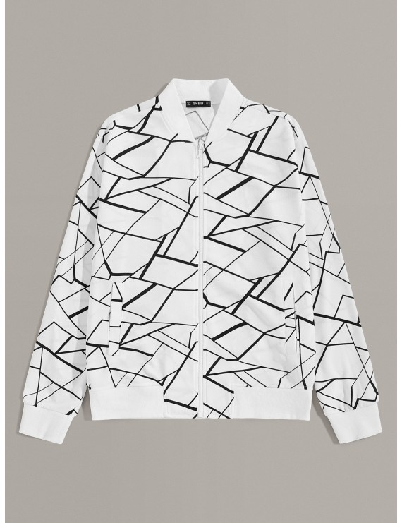 Men Geo Print Zip Up Bomber Jacket