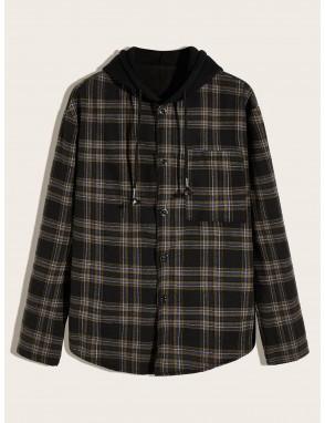 Men Plaid Contrast Hooded Flannel Shaket