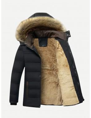 Men Fleece Lined Hooded Padded Coat