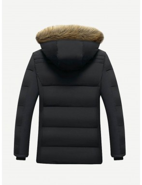 Men Fleece Lined Hooded Padded Coat