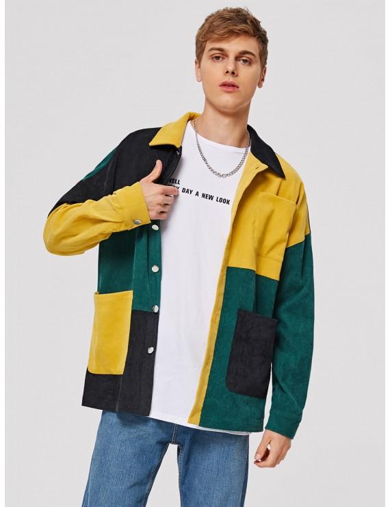Men Colorblock Patch Pocket Corduroy Jacket