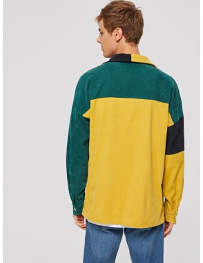 Men Colorblock Patch Pocket Corduroy Jacket