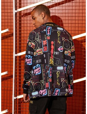 Men Graphic Print Bomber Jacket
