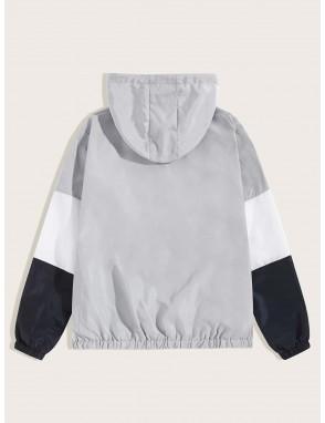 Men Cut And Sew Drawstring Hooded Windbreaker Jacket