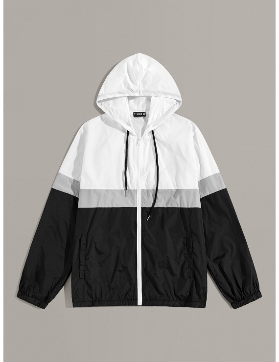 Men Cut-and-sew Drawstring Hooded Wind Jacket